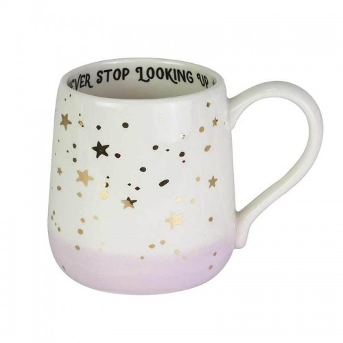 Never Stop Looking Up Mug with Gold Stars