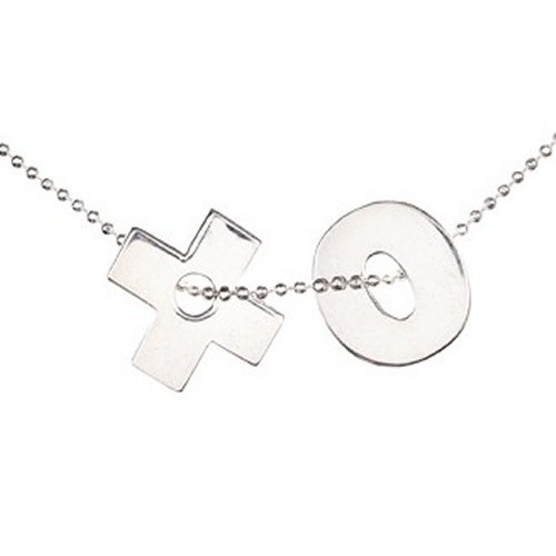 Sterling Silver X&O Necklace with matching X&O Earrings