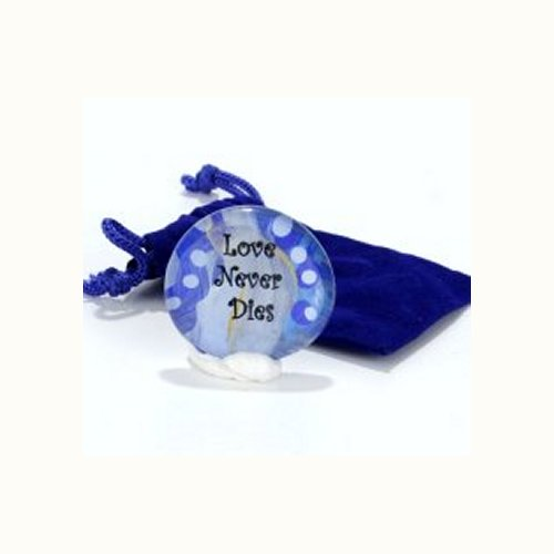 Sympathy Glass Pocket Stone 'Love Never Dies'