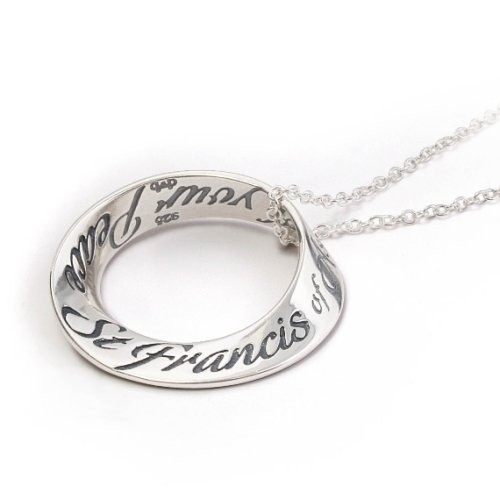 Saint Francis Prayer Sterling Silver Mobius Necklace