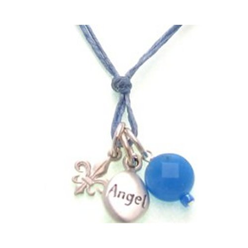 Angel Word, Fleur De Lis & Blue Agate Gem Necklace by Dogeared