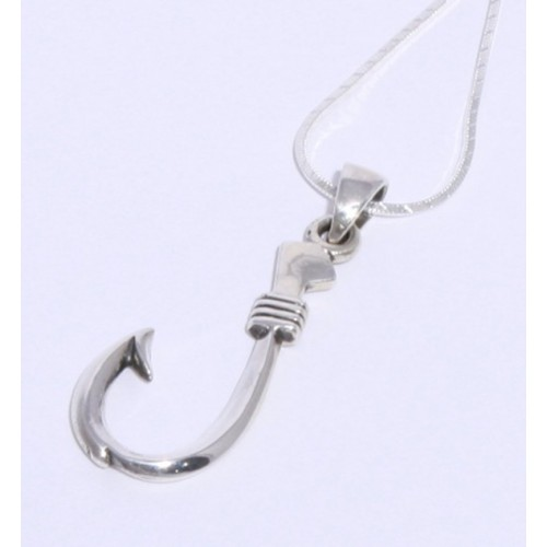 Fish Hook Strength Sterling Silver  Unisex Necklace