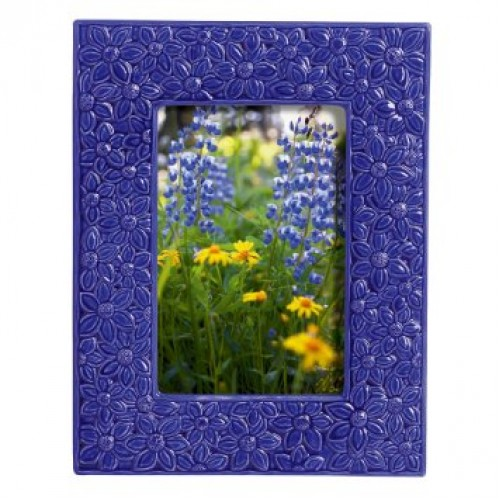 Blue Floral Relief Frame