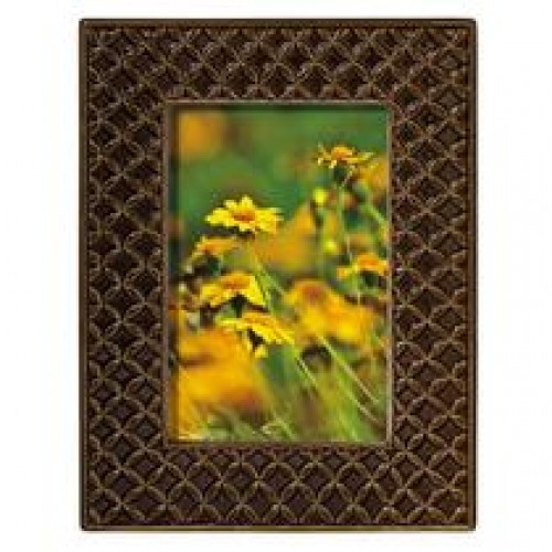 Mahogany Textile Leaf Ceramic Frame