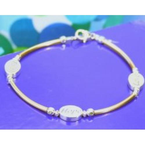 Faith, Love, Hope Sterling Silver Beaded Bracelet