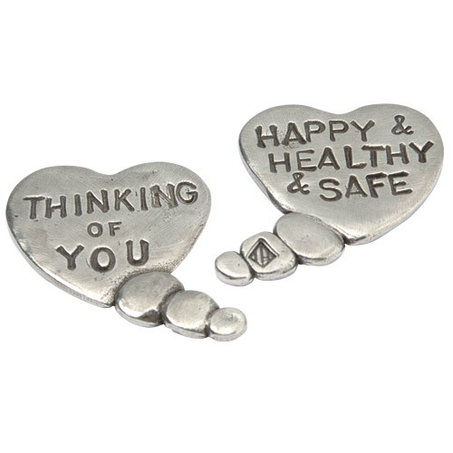 Thinking of you, Happy & Healthy & Safe Heart bubble coin by Tamara Hensick