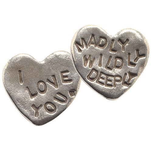 I Love You Madly Wildly Deeply Heart Shaped Coin by Tamara Hensick Designs